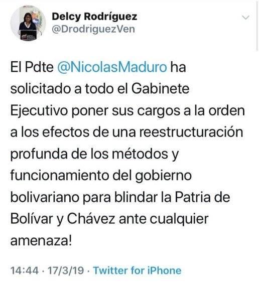 Tweet Delcy Rodriguez