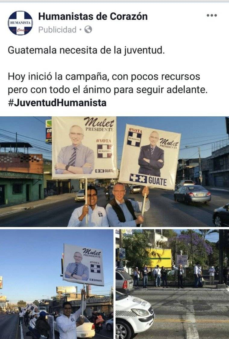 """La página """"Humanistas de corazón"""" ha publicitado la imagen de su binomio presidencial."""