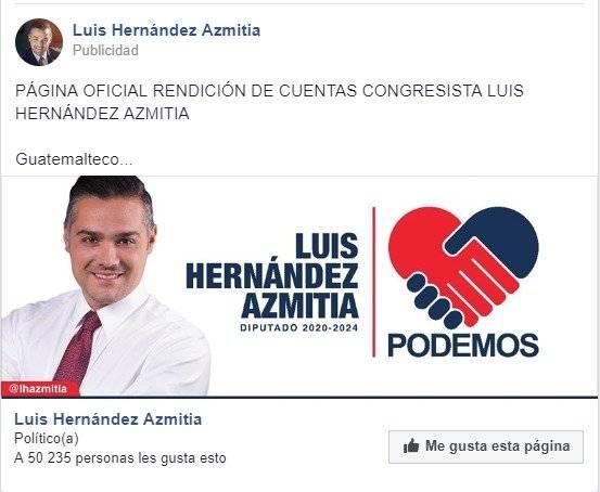 Luis Hernández Azmitia busca ser reelecto diputado al Congreso.
