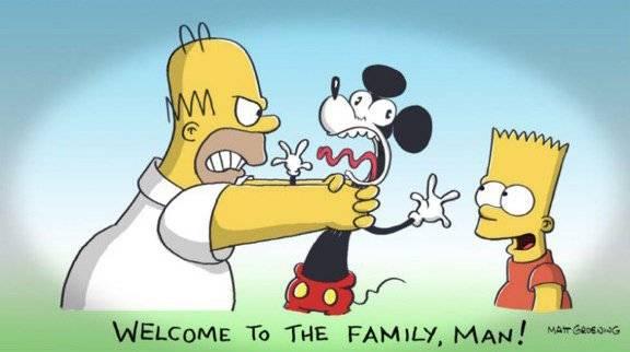 Homero dio la bienvenida a Mickey Mouse tras la compra de la cadena FOX