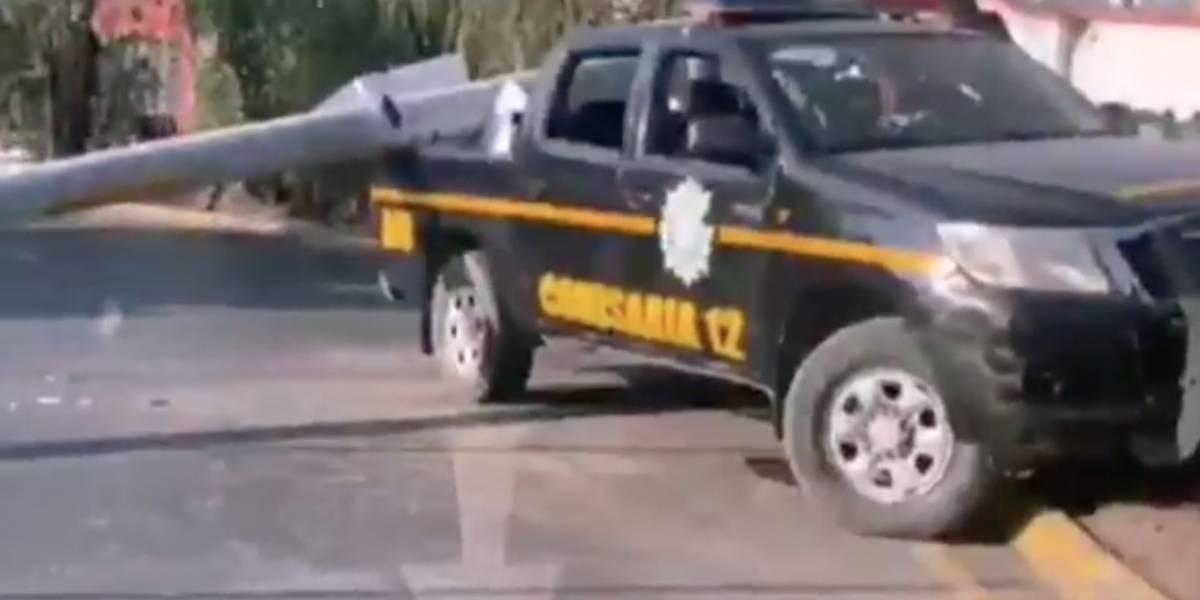Patrulla que trasladaría a exministro López Bonilla se accidenta en zona 16