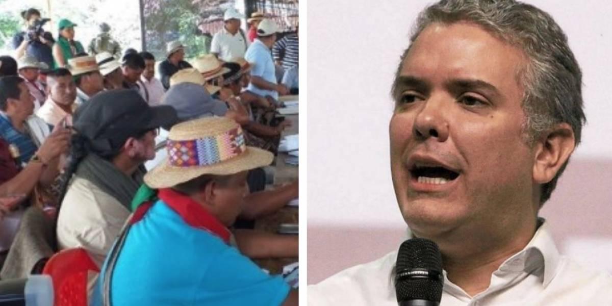 Duque habla de institucionalidad de Venezuela en Chile, mientras indígenas piden instituciones en Colombia