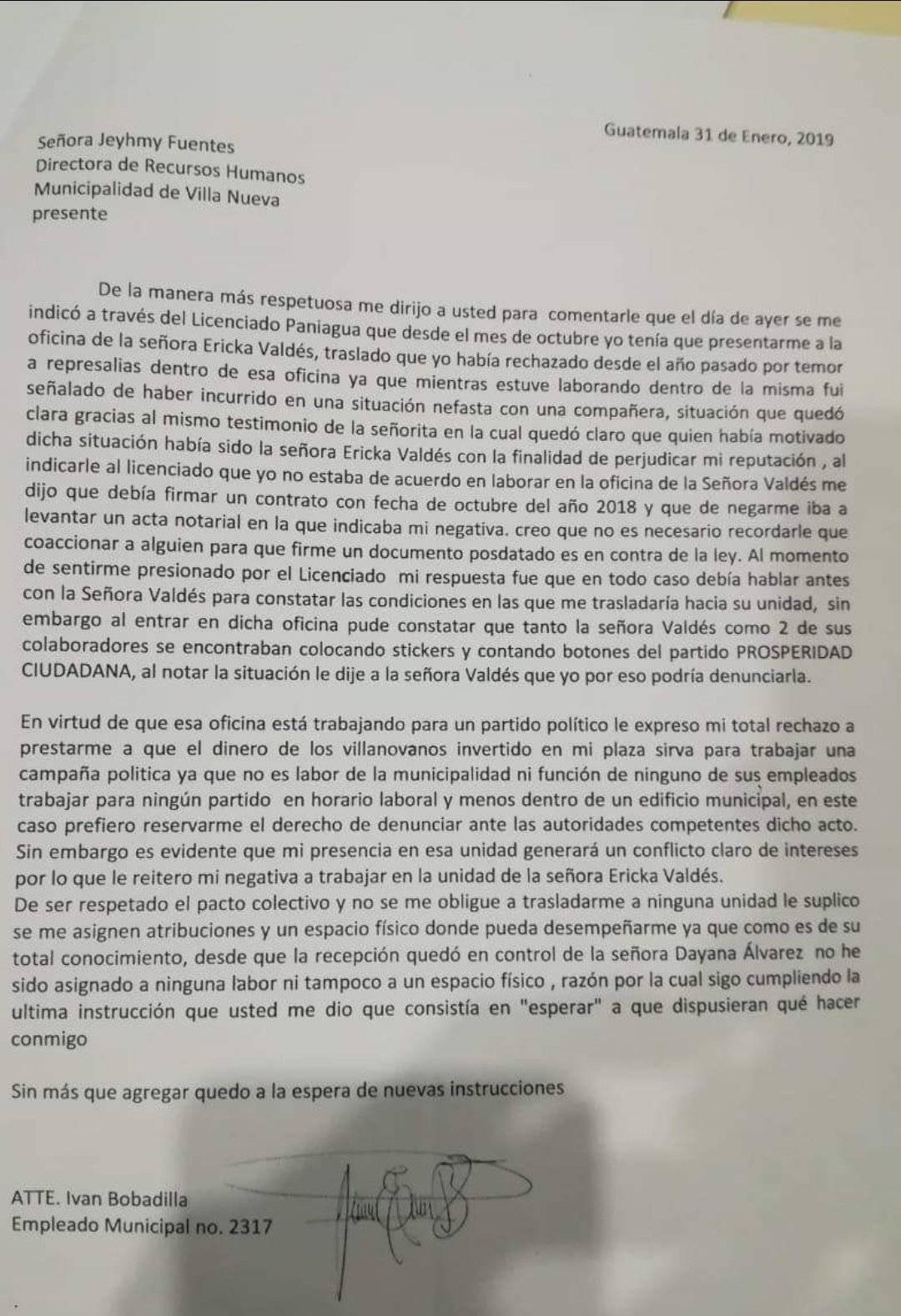 Carta que Iván Bobadilla envió a Recursos Humanos cuando era empleado. Foto: Iván Bobadilla