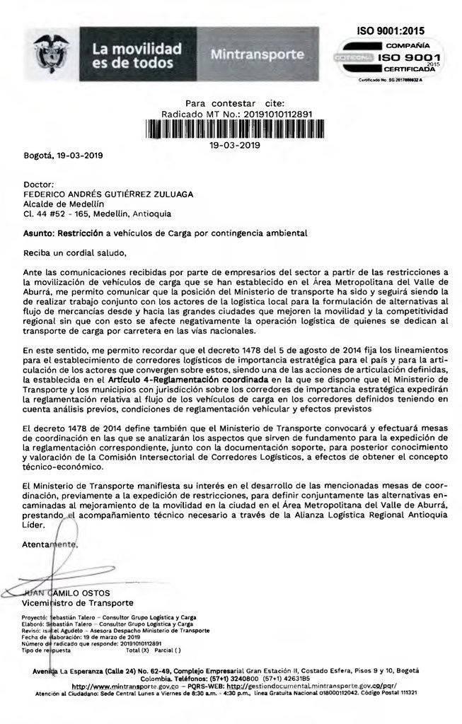 Carta Ministerio de Transporte