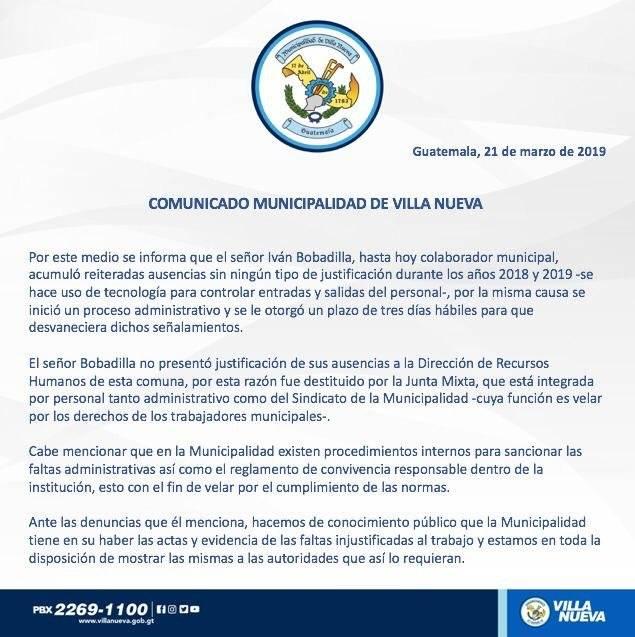 Comuna justifica despido de empleado. Foto: Municipalidad de Villa Nueva