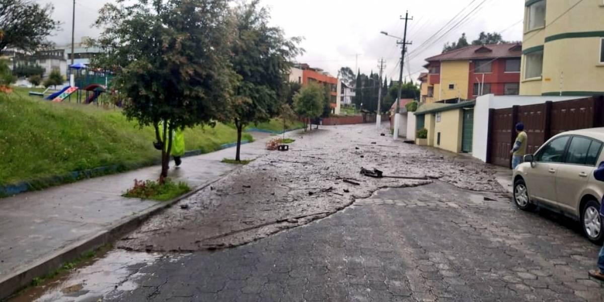 Videos muestran deslave de tierra en el Pinar Alto, norte de Quito