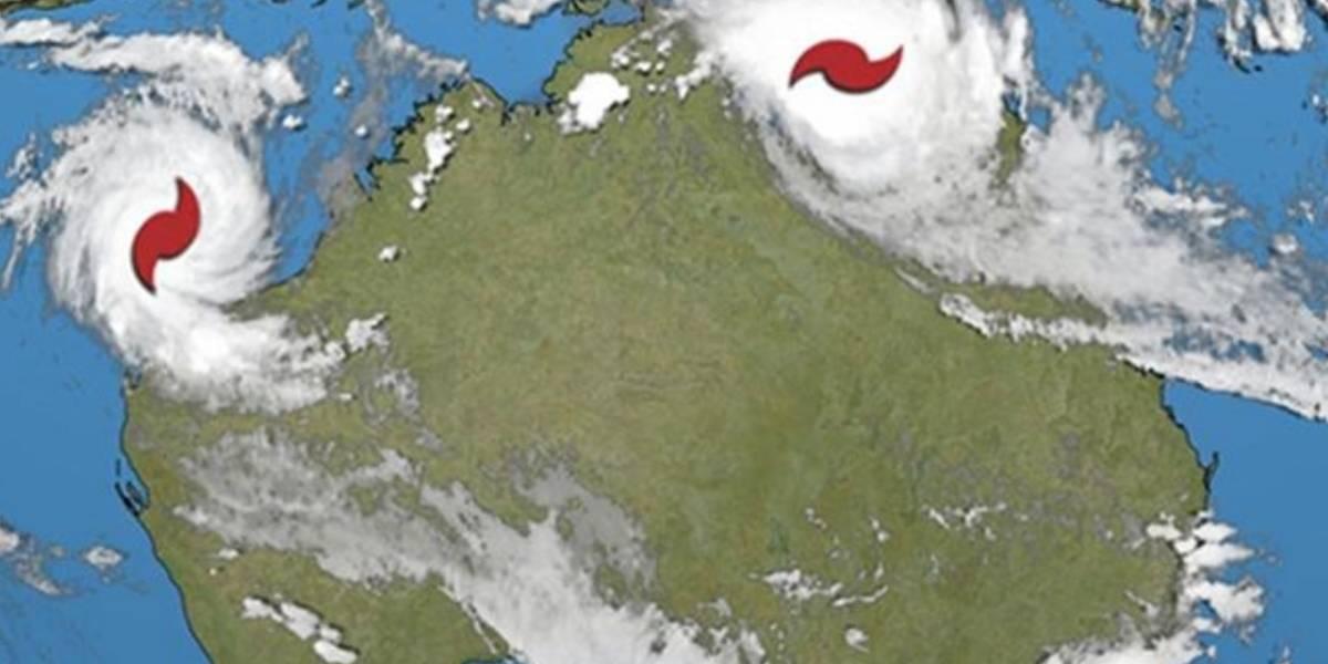 Dos ciclones se dirigen a Australia al mismo tiempo