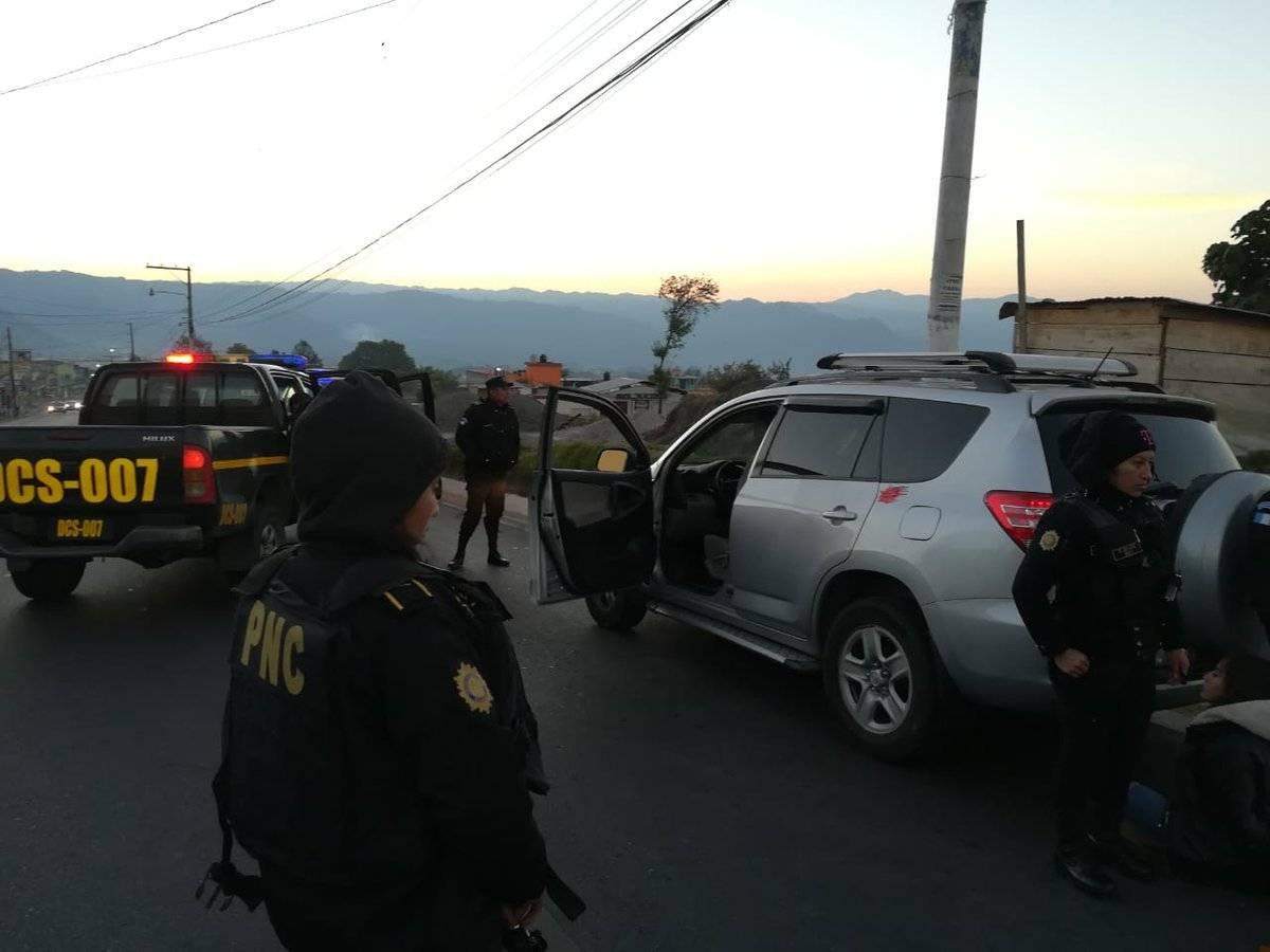 Banda de supuestos asaltantes fue desarticulada por la PNC en San Marcos. Foto: PNC