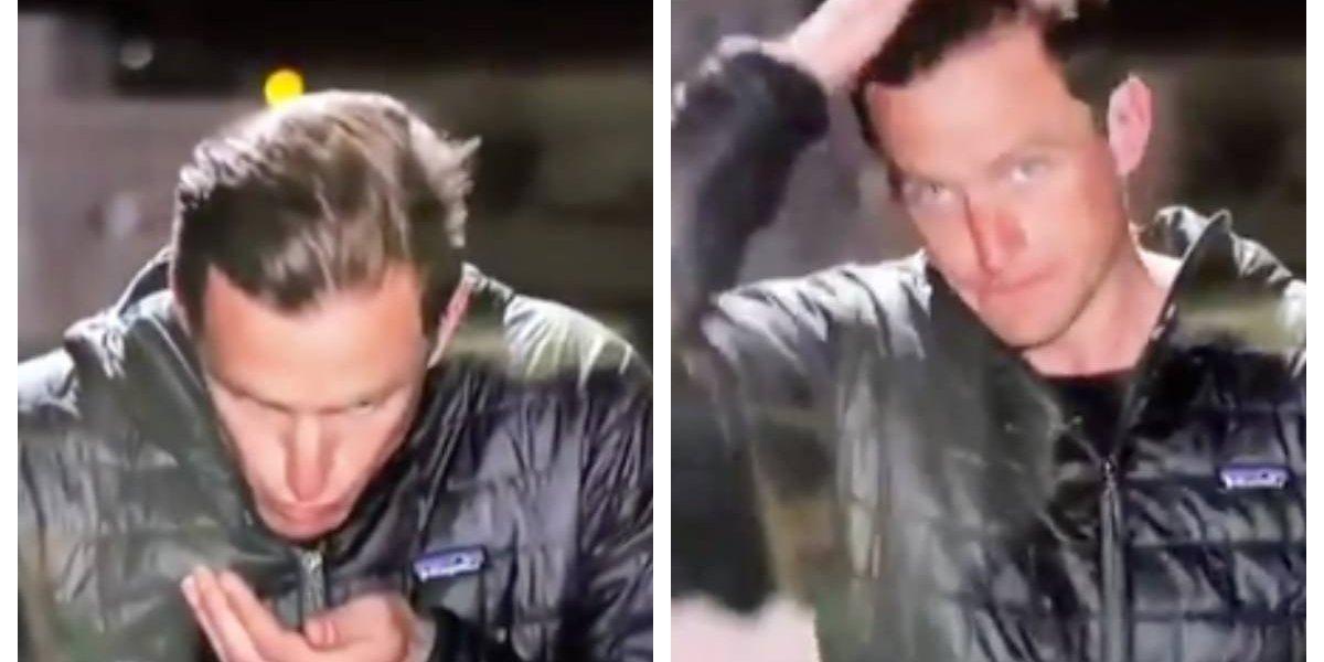 Reportero se hizo famoso de la peor forma: se escupió las manos y se las pasó por el pelo para salir bien en vivo