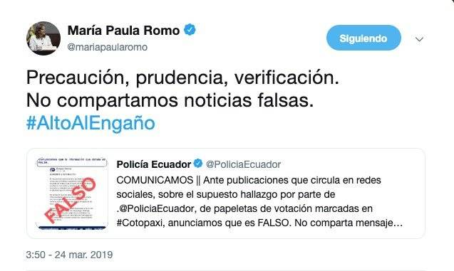 Twitter de María Paula Romo