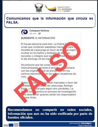 Noticia falsa de Latacunga