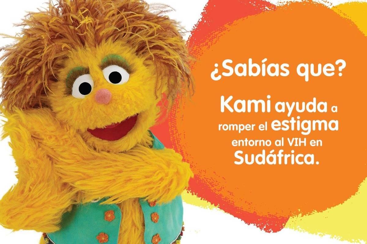 Kami es una niña de color naranja con VIH que fue creada para Takalani Sesame, adaptación del programa en Sudáfrica. Facebook
