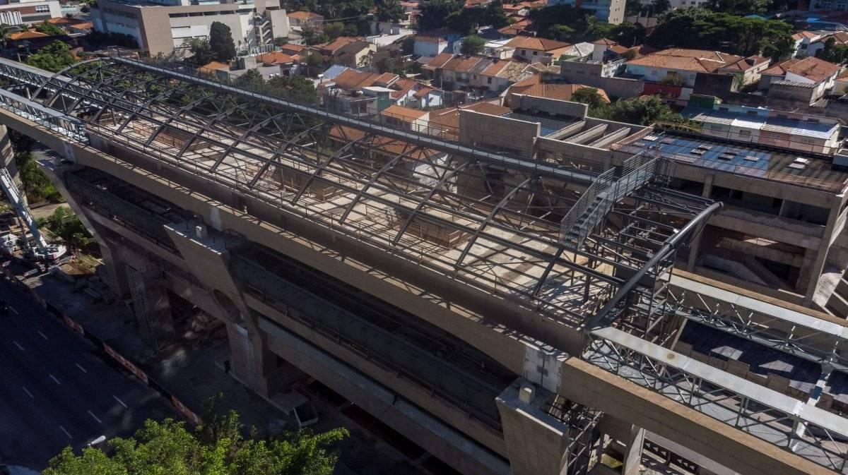 Vista aérea do monotrilho da Linha 17-Ouro