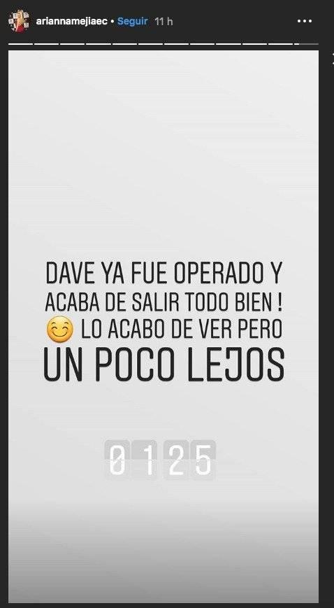 Mensaje de la novia de Dave Morales