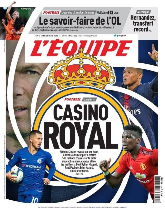 El diario francés consigna la gran inversión del Real Madrid por tres estrellas del fútbol europeo /Imagen: L'Equipe