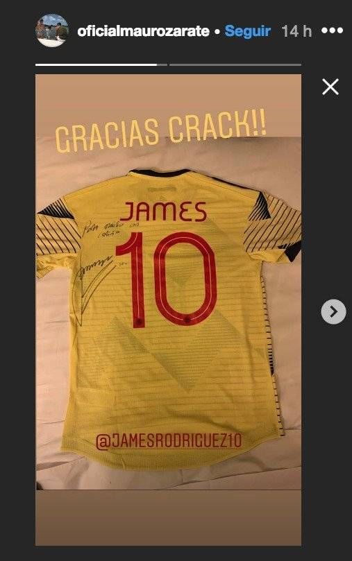Sebastián Villa entregó regalo de James Rodríguez a Mauro Zárate