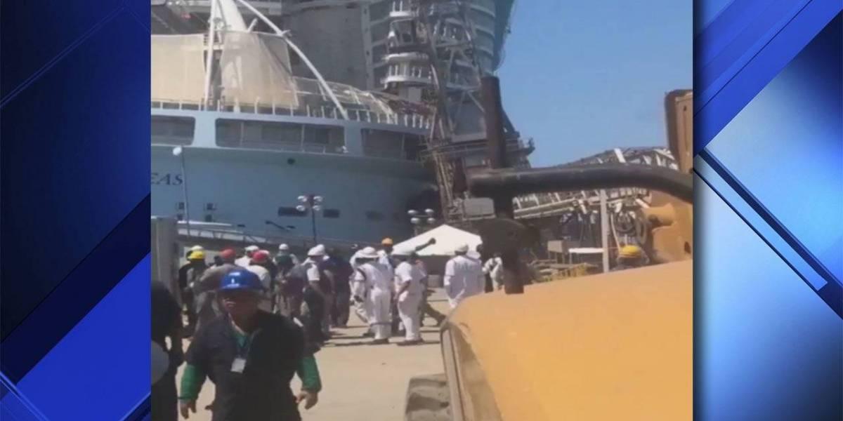 Reportan varios heridos tras caer grúa en crucero en Bahamas