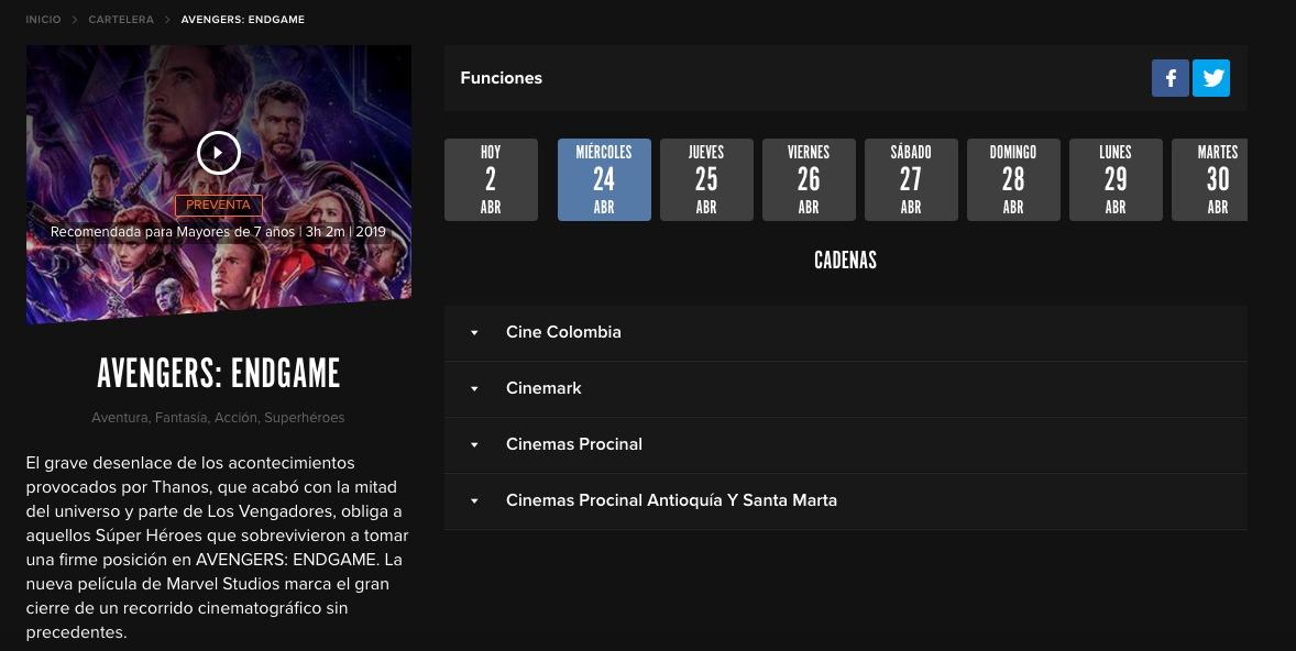 ¡Atención! Ya está disponible la preventa de Avengers: Endgame para Colombia