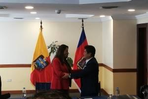 Paola Pabón y Jorge Yunda en su primera reunión