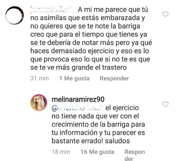 Captura de pantalla Instagram Melina Ramírez