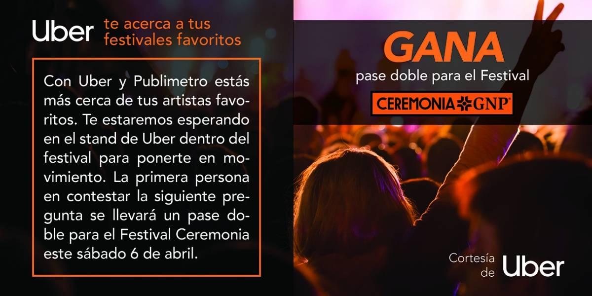 Gana pase doble para el festival CERMONIA