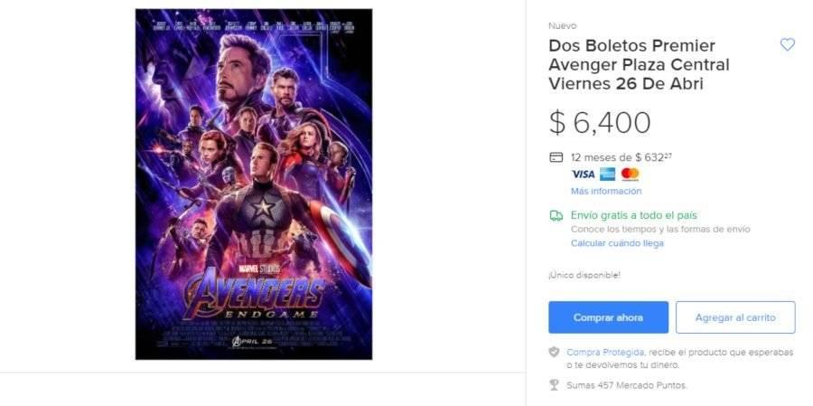 Venta de boletos Avengers