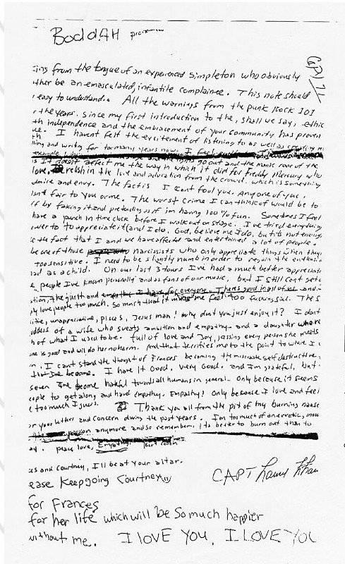 Carta de Kurt Cobain