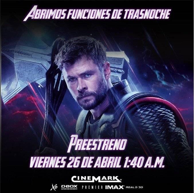 Cinemark entradas Avengers EndGame