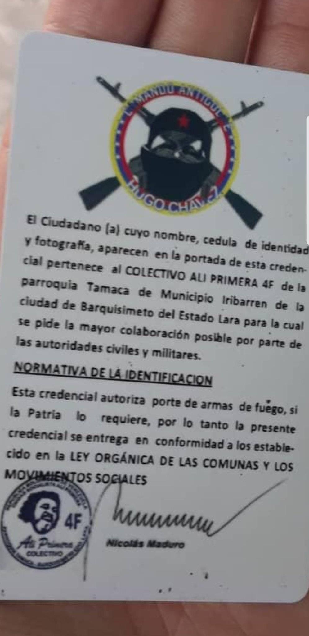carnet venezuela colectivos paramilitares