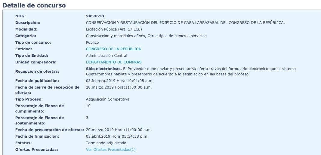 Congreso invertirá casi Q10 millones en remodelación de Casa Larrazábal