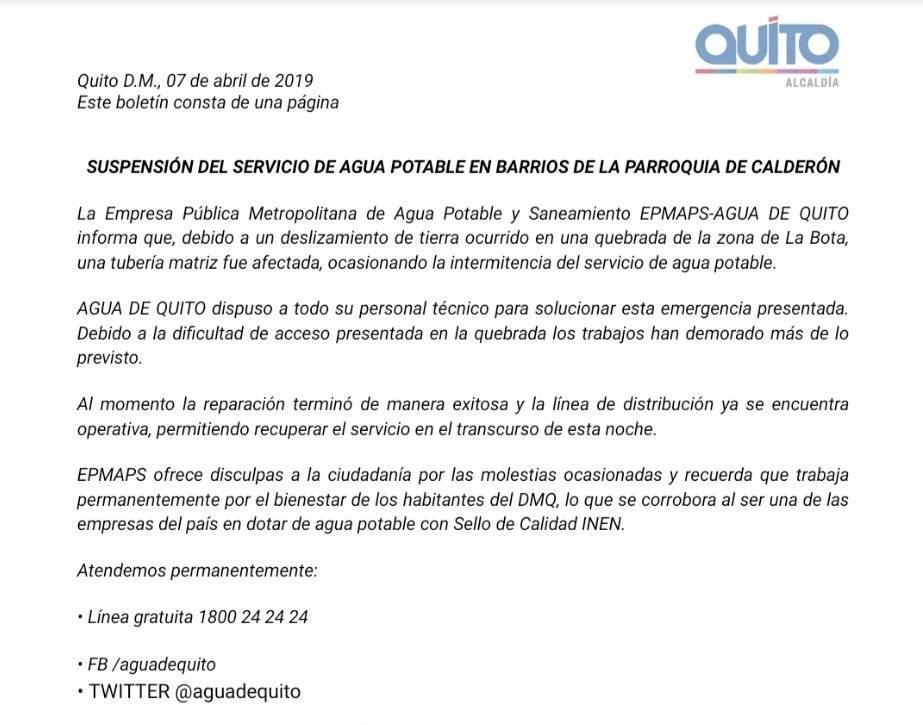 Boletín Oficial EPMAPS (Parroquia Calderón)