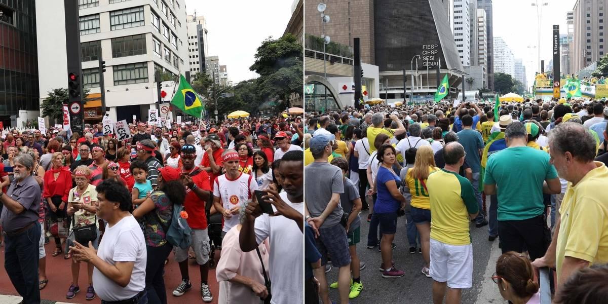 Manifestações no país levam 'rivais' às ruas no domingo