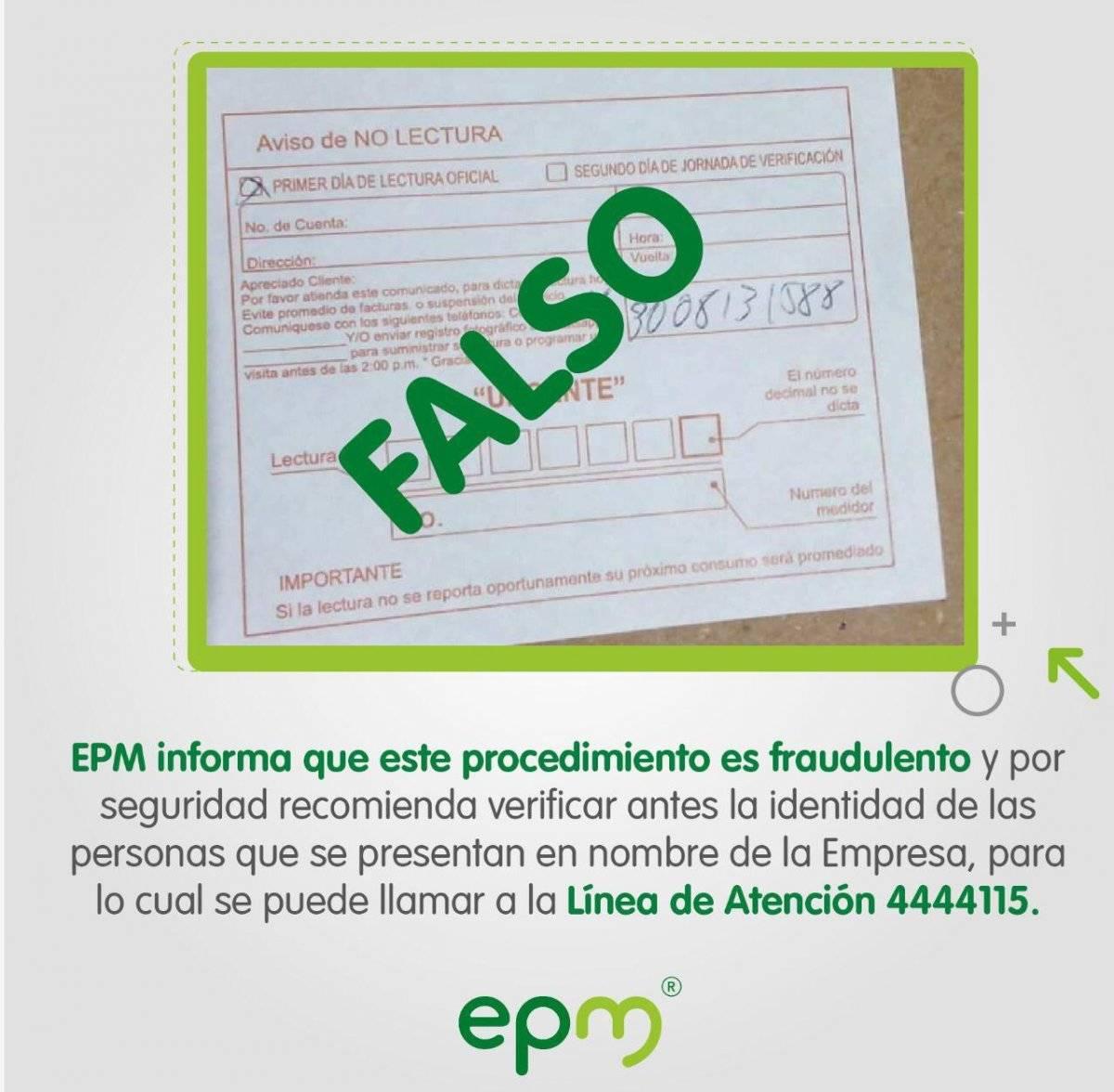 Volante falso EPM