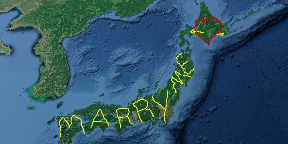 Artista percorre todo o Japão e traça rota no GPS para pedir namorada em casamento