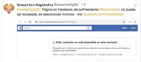 Facebook cierra la página de Rafael Correa