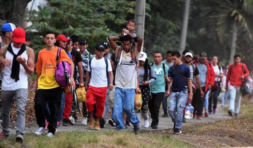 Caravana de emigrantes. Foto: AFP