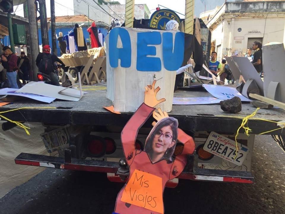 Lenina García, secretaria de la Asociación de Estudiantes Universitarios, Huelga de Todos los Dolores del Pueblo 2019, Usac. Foto: Omar Solís