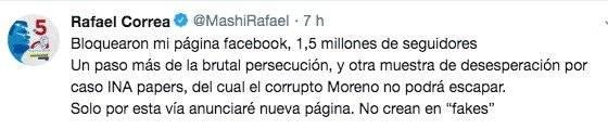 La respuesta de Rafael Correa al bloqueo de su Facebook