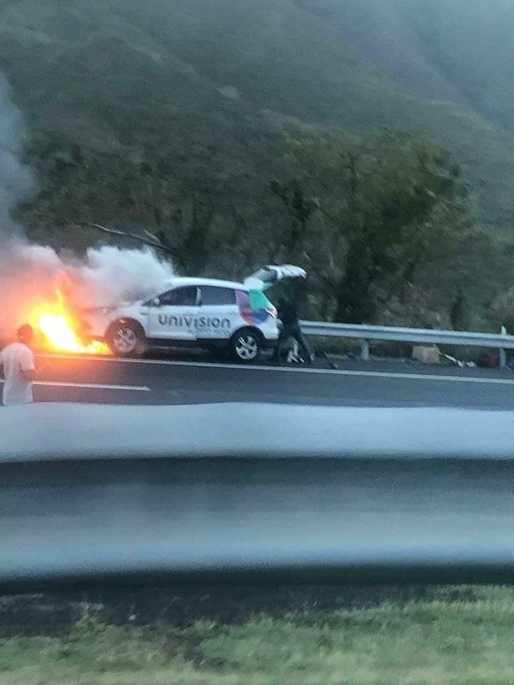 Incendio carro Univisión