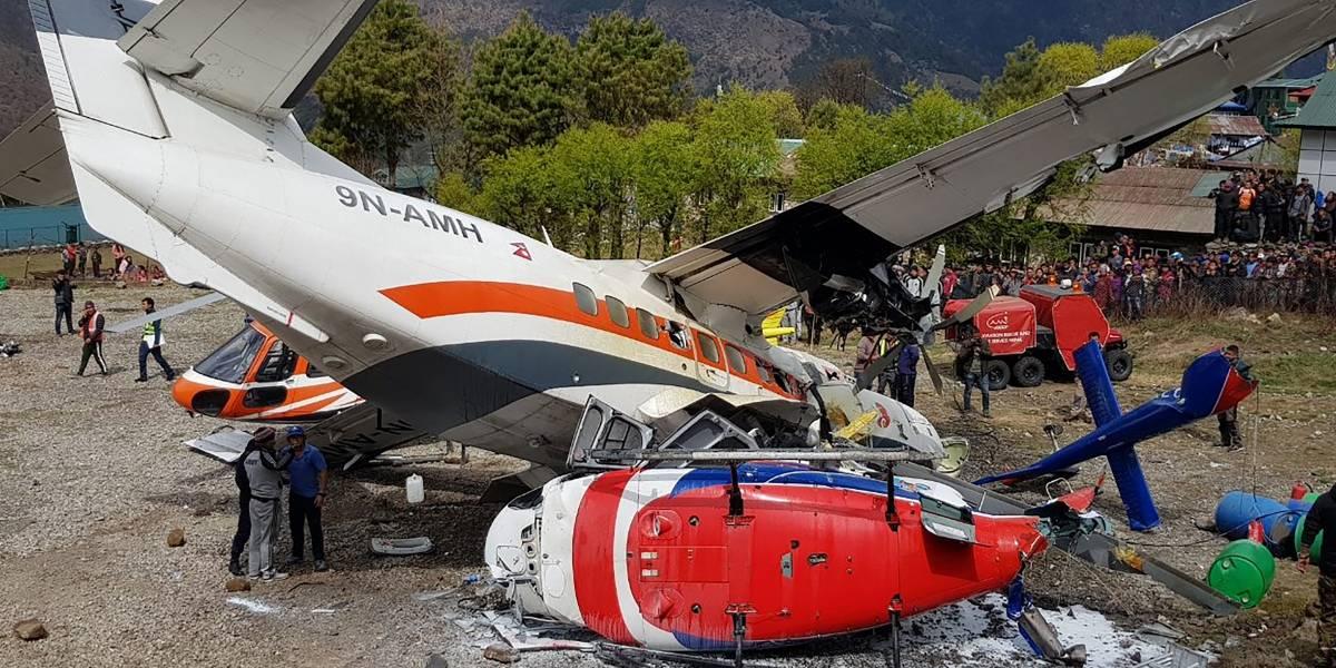 VIDEO. Avión despega y choca con dos helicópteros en la región del Everest