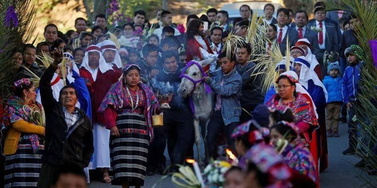 VIDEO. San Pedro Sacatepéquez vive su tradicional procesión de Jesús y su borriquita