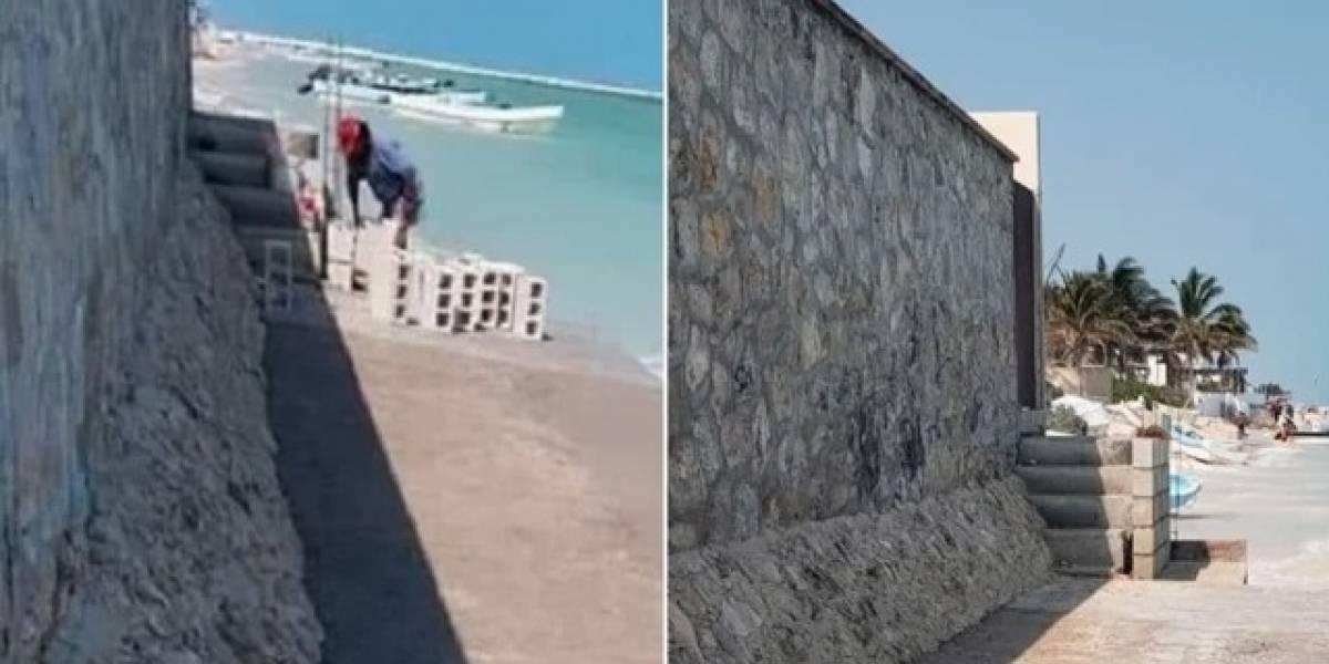 Otra vez en Yucatán ¡levantan muro en la playa!