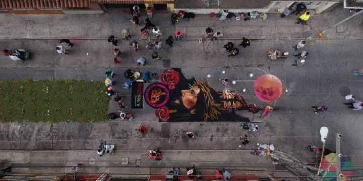 Elaboran alfombra artística dedicada a Jesús de La Merced