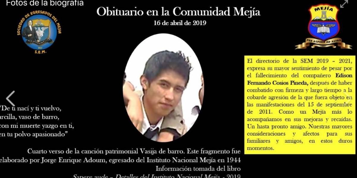 """Madre de Édison Cosíos, estudiante del Mejía: """"Mi hijo ha tenido que partir sin ver la justicia"""""""
