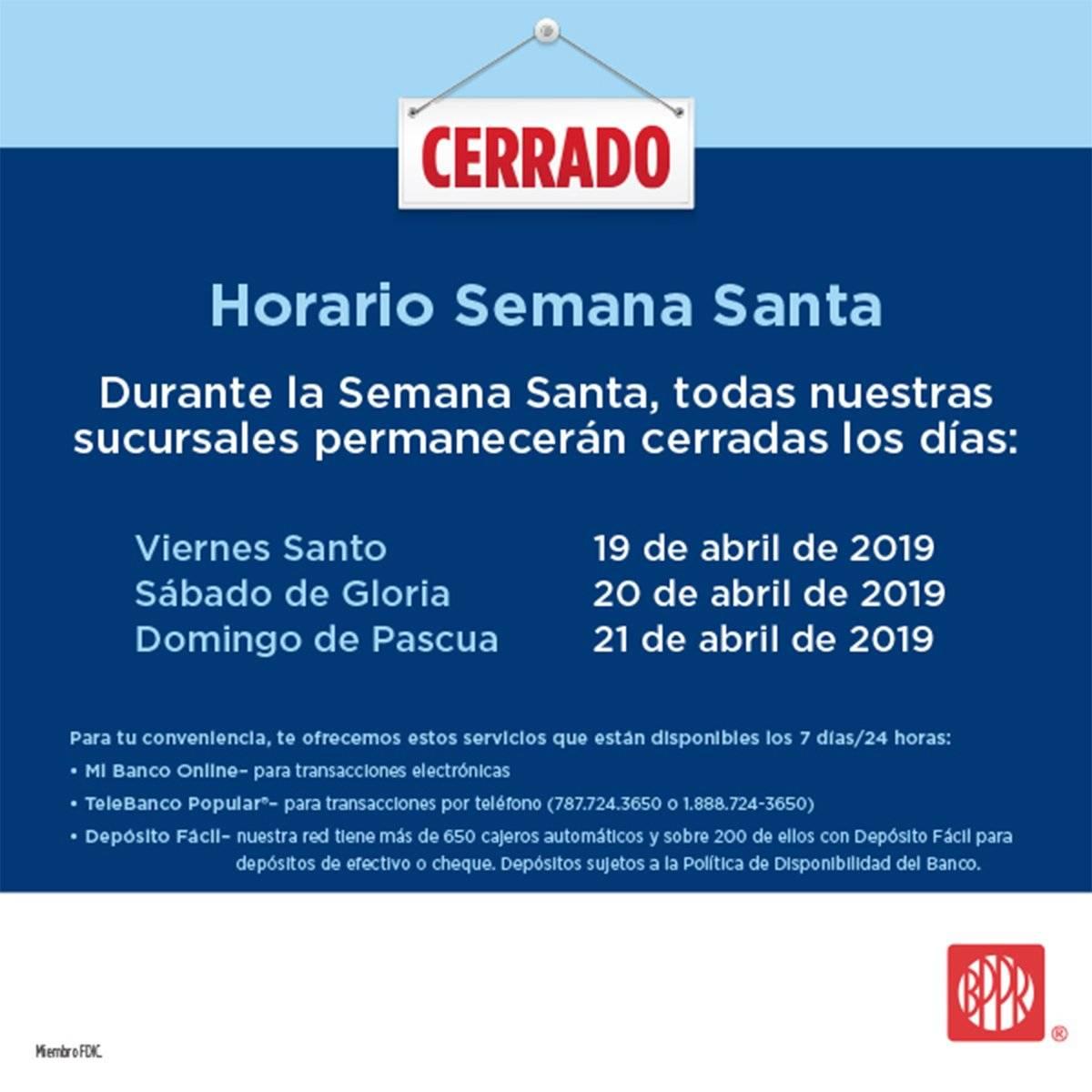 Horario Semana Santa Banco Popular