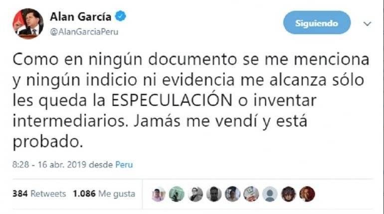 último tuit Alan García