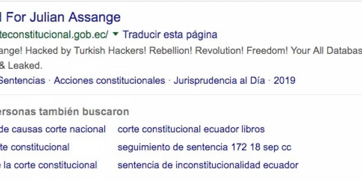 Hackearon la web de la Corte Constitucional de Ecuador