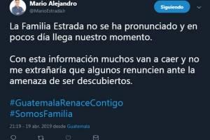 Tweet del alcalde Mario Estrada Ruano.