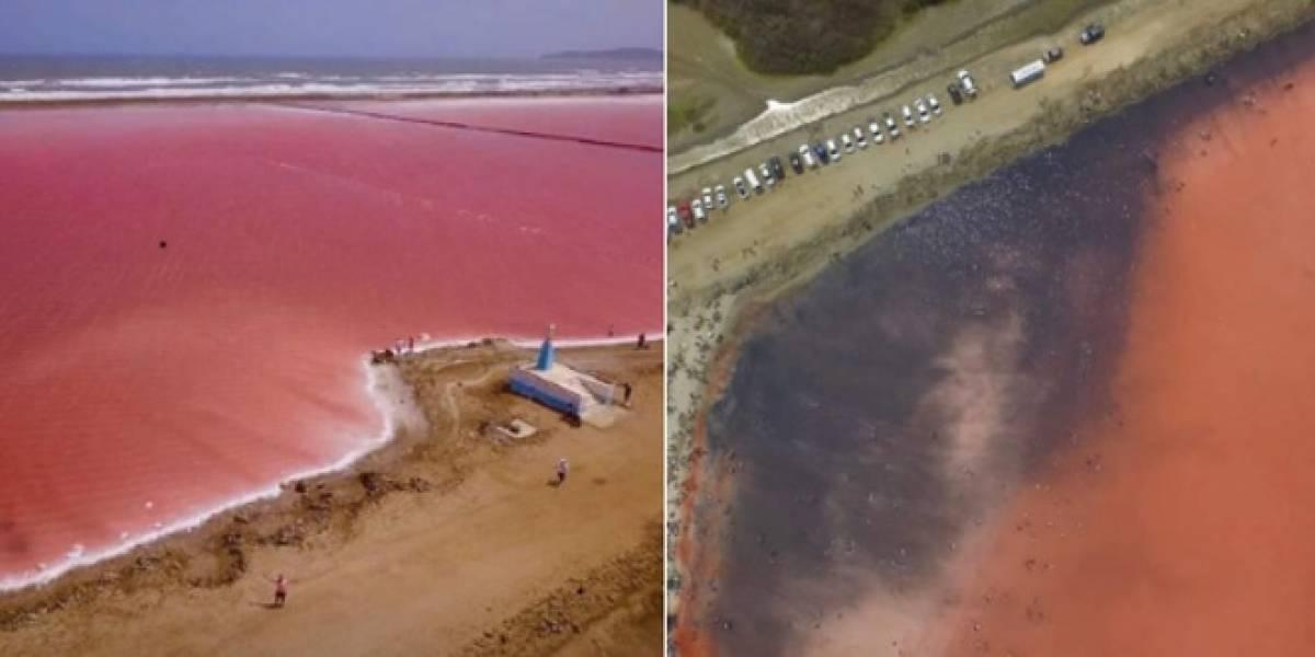 """Cerraron el """"mar rosado"""" de Galerazamba al turismo para extracción de sal"""