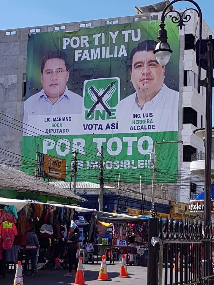 candidatos UNE campaña Totonicapán